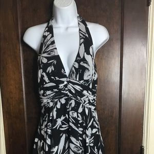White House Black Market Sz 4 Floral Halter Dress